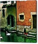 Annecy Swan Canvas Print