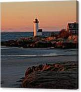 Annisquam Lighthouse At Sunset Canvas Print