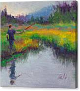 Another Cast - Fishing In Alaskan Stream Canvas Print