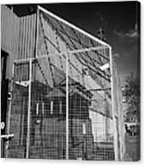 anti rpg cage surrounding observation sanger at North Queen Street PSNI police station Belfast North Canvas Print
