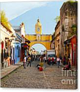 Antigua Guatemala Clock Canvas Print