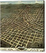 Antique Bird's-eye View Map Of Atlanta 1871 Canvas Print