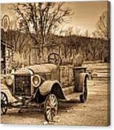 Antique Car At Service Station In Sepia Canvas Print