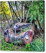 Antique Car With Trees In Windshield Canvas Print