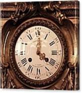 Antique Clock In Sepia Canvas Print