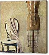 Antique Dress Form And Chair With Vintage Feeling Canvas Print