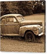Antique Ford Car Sepia 4 Canvas Print