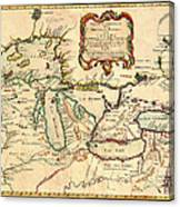 Antique French Map Of The Great Lakes 1755 Canvas Print