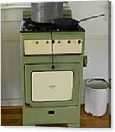 Antique Green Stove And Pressure Cooker Canvas Print