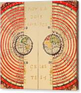 Antique Illustrative Map Of The Ptolemaic Geocentric Model Of The Universe 1568 Canvas Print