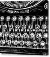 Antique Keyboard - Bw Canvas Print