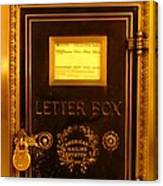 Antique Letter Box At The Brown Palace Hotel Canvas Print
