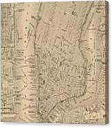Antique Manhattan Map Canvas Print