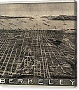 Antique Map Of Berkeley California By Charles Green - Circa 1909 Canvas Print