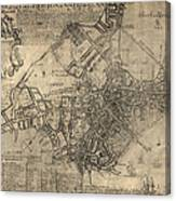 Antique Map Of Boston By William Price - 1769 Canvas Print
