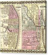 Antique Map Of Chicago And St Louis 1855 Canvas Print