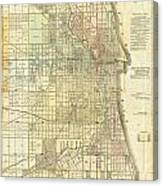 Antique Map Of Chicago Canvas Print