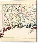 Antique Map Of Connecticut  Canvas Print