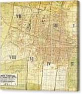 Antique Map Of Del Plano Oficial De La Ciudad De Mexico Canvas Print