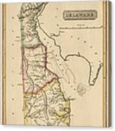 Antique Map Of Delaware By Fielding Lucas - Circa 1817 Canvas Print