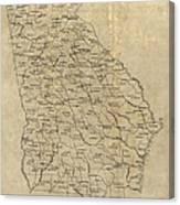 Antique Map Of Georgia - 1893 Canvas Print