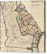 Antique Map Of Georgia By Samuel Lewis - Circa 1810 Canvas Print