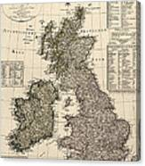 Antique Map Of Great Britain And Ireland By I. G. A. Weidner - 1801 Canvas Print