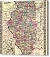 Antique Map Of Illinois 1855 Canvas Print