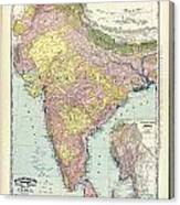 Antique Map Of India - Further India Canvas Print