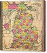 Antique Map Of Michigan 1853 Canvas Print