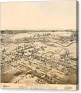 Antique Map Of New Braunfels Texas 1881 Canvas Print