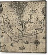 Antique Map Of North Carolina And Virginia By John White - 1590 Canvas Print
