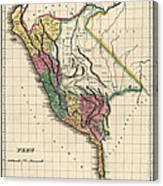 Antique Map Of Peru By Henry Charles Carey - 1822 Canvas Print