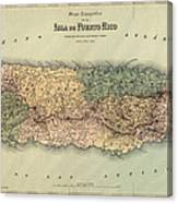 Antique Map Of Puerto Rico - 1886 Canvas Print