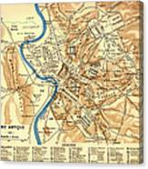 Antique Map Of Rome During Antiquity 1870 Canvas Print