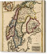 Antique Map Of Scandinavia By Fielding Lucas - Circa 1817 Canvas Print