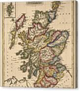 Antique Map Of Scotland By Fielding Lucas - Circa 1817 Canvas Print