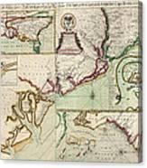 Antique Map Of South Carolina By Edward Crisp - Circa 1711 Canvas Print