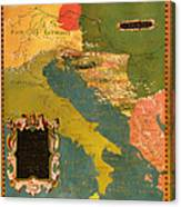 Antique Map Of The Dalmatian Shore 1578 Canvas Print