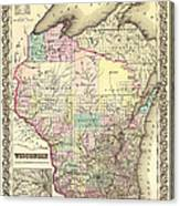 Antique Map Of Wisconsin 1855 Canvas Print
