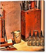 Antique Oil Bottles Canvas Print