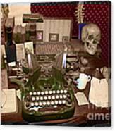 Antique Oliver Typewriter On Old West Physician Desk Canvas Print
