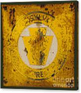 Antique Metal Pennsylvania Forest Fire Warden Sign Canvas Print