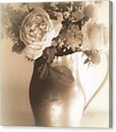 Antique Vase And Roses Canvas Print