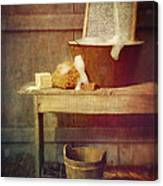 Antique Wash Tub With Soaps Canvas Print