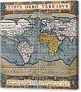 Antique World Map Circa 1570 Canvas Print