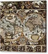 Antique World Map Circa 1670 II Canvas Print
