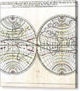 Antique World Map Harmonie Ou Correspondance Du Globe 1659 Canvas Print