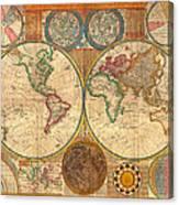 Antique World Map In Hemispheres 1794 Canvas Print