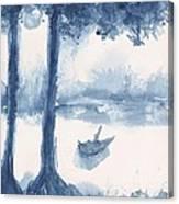 Antwerp Blue Landscape Watercolor Canvas Print